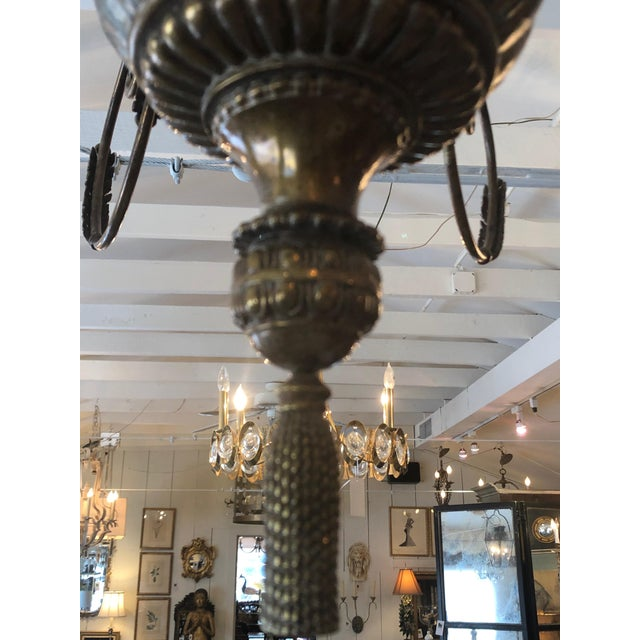 Contemporary Large Gilded 9 Arm Chandelier For Sale In Philadelphia - Image 6 of 9
