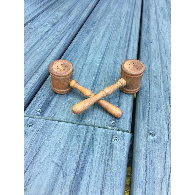 Traditional Wood Vintage Gavel Salt & Pepper Shaker Set - A Pair For Sale - Image 3 of 6