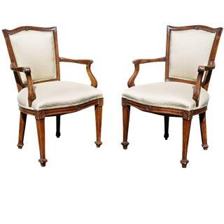 Pair of Italian Neoclassic Walnut Armchairs For Sale