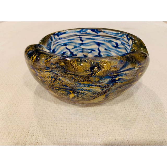 Beautiful Mid-Century Ashtray / Bowl Cobalt Blue with lots of flecked gold Great vintage condition- no known flaws Free...