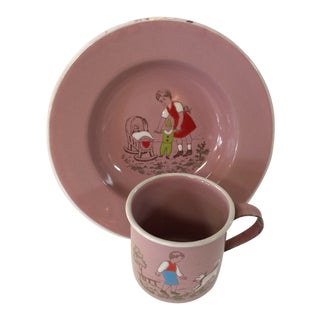 Pink Enamelware Childs Bowl and Cup Set - Made in Germany For Sale