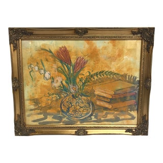 Vintage Expressionist Mixed Media Still Life For Sale