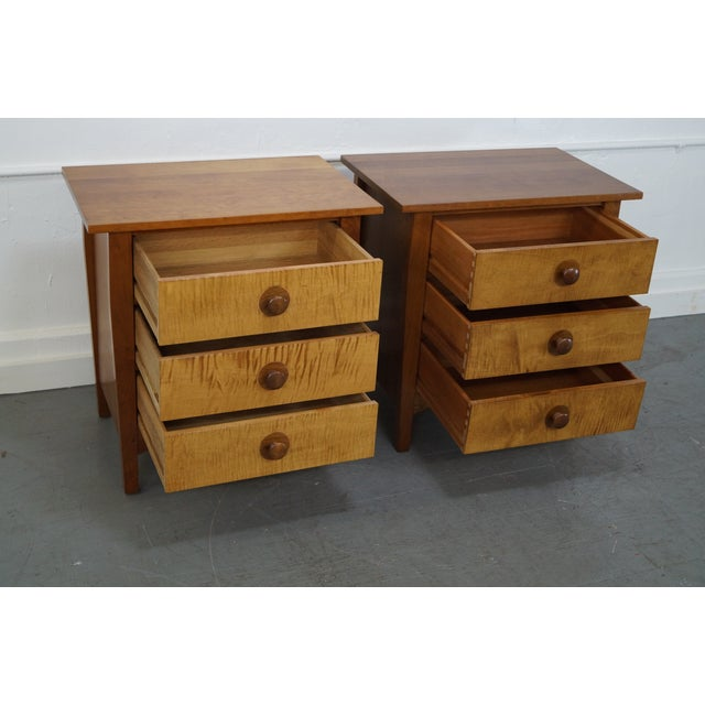 Stickley Mission Cherry 3 Drawer Nightstand - Pair - Image 4 of 10