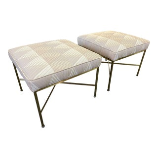 1950s Paul McCobb for Calvin Attributed Brass Framed Stools - a Pair For Sale