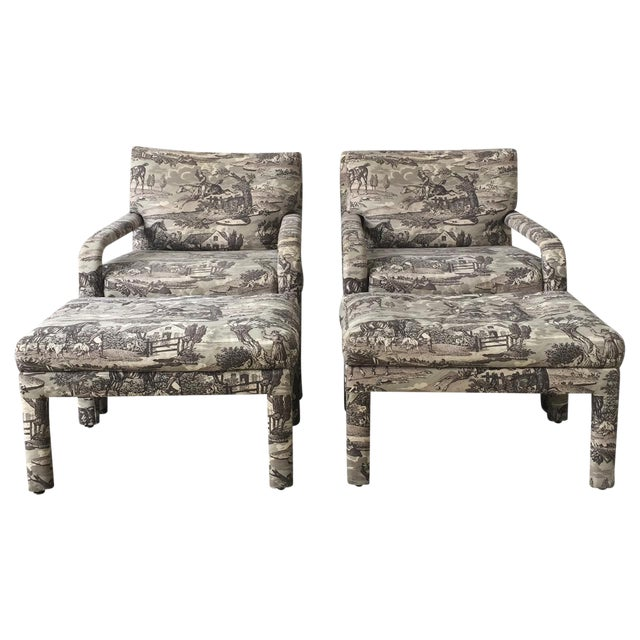 Vintage Toile Upholstered Chairs & Ottomans - A Pair - Image 1 of 6