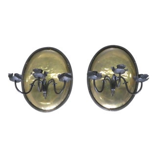 Continental Brass & Iron Candle Sconces For Sale