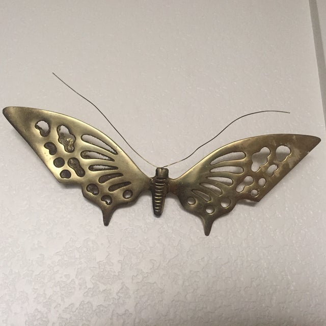 Brass Wall Hanging Butterflies- a Pair - Image 4 of 5