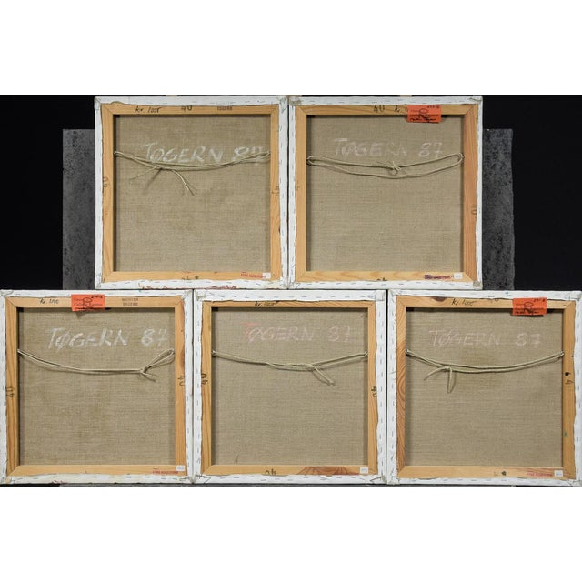 Collection of 5 Morten Tøgern compositions, oil paintings on canvas, 1987. Each one measures 40x40 centimeters.