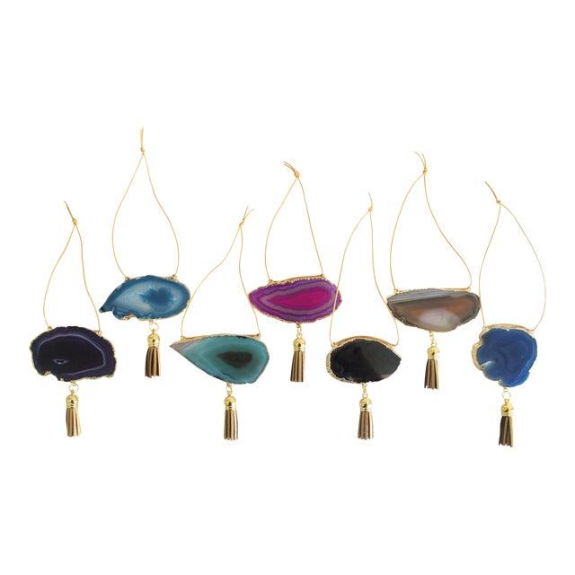 Modern Boho Agate Holiday Ornaments - Set of 7 - Image 1 of 11