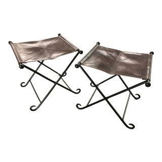 Vintage Leather and Iron Folding Stools - a Pair For Sale