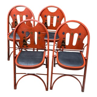 1920s Vintage Louis Rastetter & Sons Kumfort Folding Chinoiserie Chairs- Set of 4 For Sale