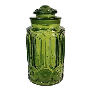 Vintage Green Glass Apothecary Jar Canister For Sale