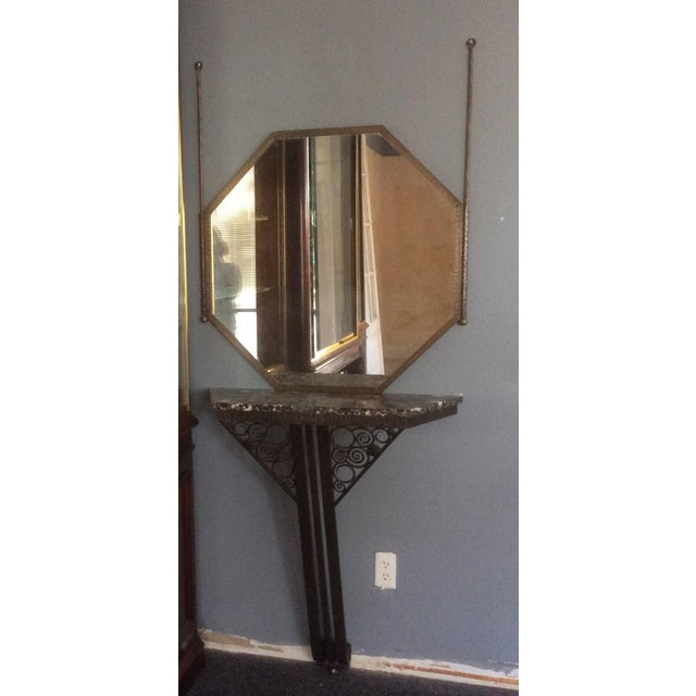 Wrought Iron Console Table and Mirror Set For Sale In San Antonio - Image 6 of 11