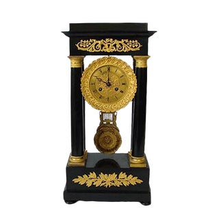 Mid 19th Century Vintage French Portico Bronze & Wood Clock For Sale