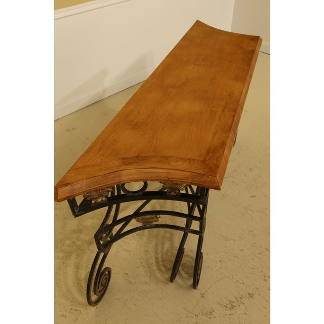 Metal Wrought Iron Base Console Table with Maple Top For Sale - Image 7 of 13