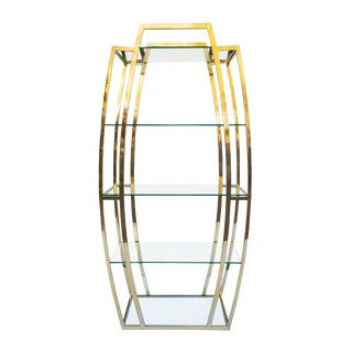 Modern Bowed Brass and Glass Etagere For Sale
