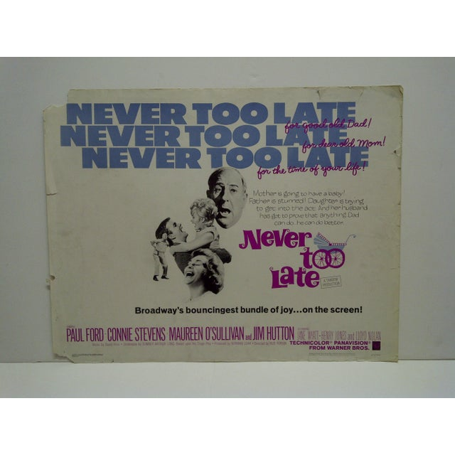 "This is a Vintage Movie Poster -- ""Never Too Late"" -- 65/358 -- Starring Paul Ford & Connie Stevens -- Copyright 1965 --..."