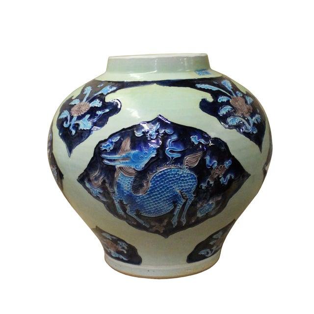Handmade Ceramic Blue Light Green Celadon Dimensional Pattern Vase Jar For Sale In San Francisco - Image 6 of 10