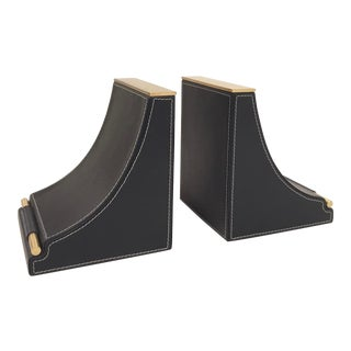 Arteriors Modern Indigo Leather and Brass Finished Tabor Bookends Pair For Sale