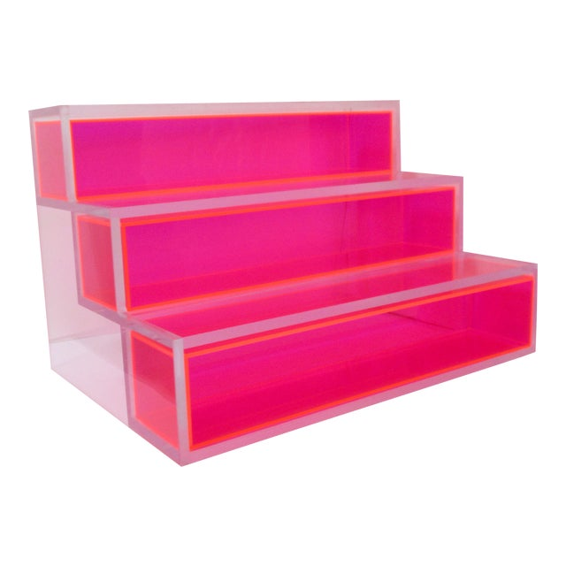 Pink Block Lucite Display Shelving For Sale