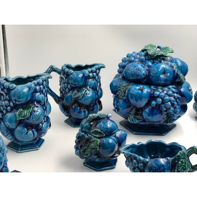 Japanese Vintage Ceramic Fruit Topiary Serving Set, Mood Indigo by Inacaro For Sale - Image 3 of 12
