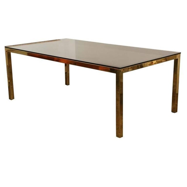 Mid Century Modern Vintage Brass & Glass Dining Table by Milo Baughman / DIA - Image 1 of 6