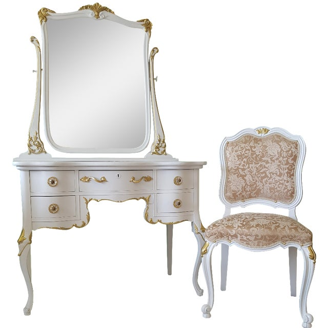 Antique White & Gold Makeup Vanity Mirror & Chair - Antique White & Gold  Makeup Vanity - Antique Vanity Mirror Antique Furniture