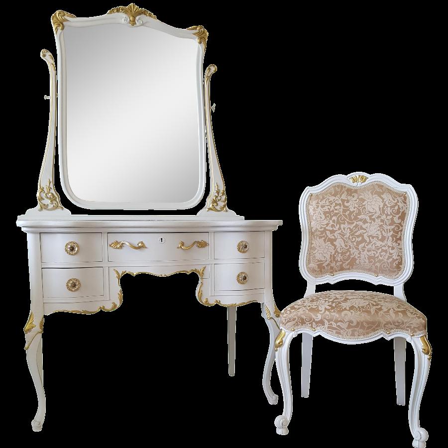 Antique White U0026 Gold Makeup Vanity Mirror U0026 Chair