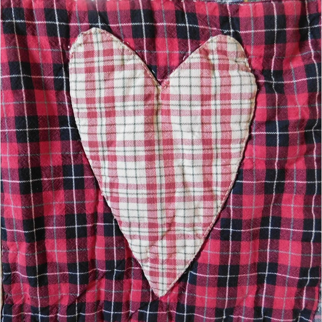 This is an adorable and versatile vintage patchwork quilt with hearts of all colors and plaids all over! This would make a...