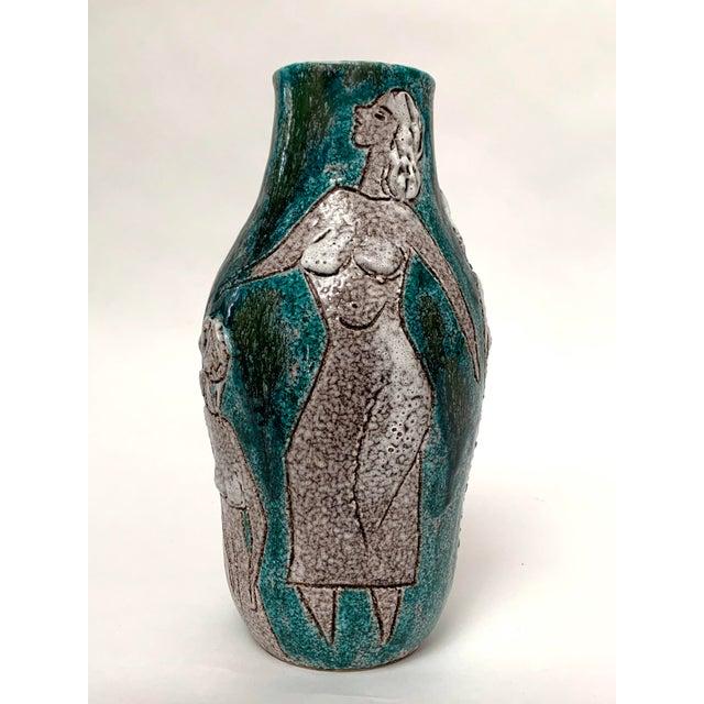 Ceramic Gambone and Fanciullaci Style Italian Mid-Century Modern Ceramic Vase For Sale - Image 7 of 13