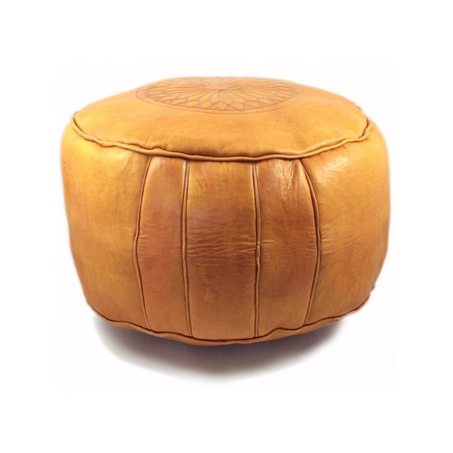 Boho Chic Modern Yellow Leather Moroccan Pouf Ottoman For Sale - Image 3 of 4