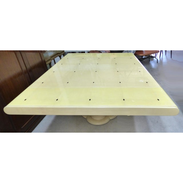 "Karl Springer Mid-Century Karl Springer Style 60"" Square Goatskin Dining Table For Sale - Image 4 of 11"