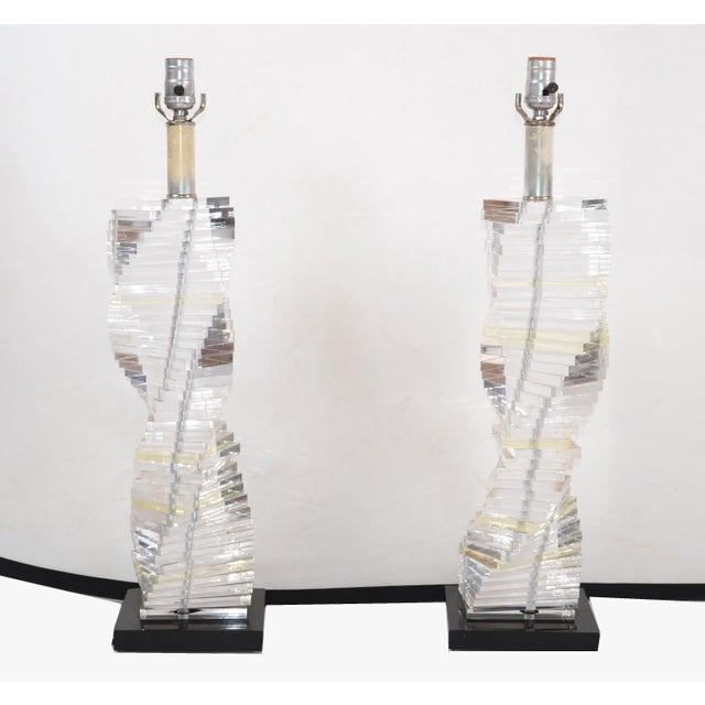 Mid-Century Modern Mid-Century Modern Stacked Clear Lucite Lamps Spiral Staircase Design - a Pair For Sale - Image 3 of 13
