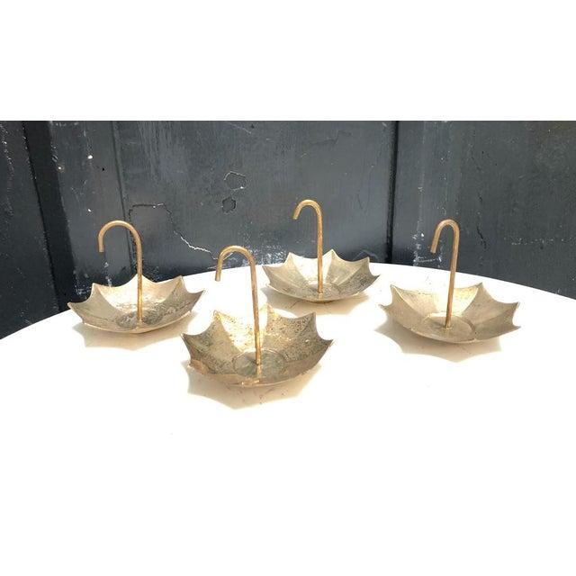 1960s La Vie Brass Umbrella Mini Ashtrays - Set of 4 For Sale - Image 5 of 5