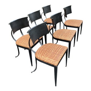 Set of 6 Iron Klismos Chairs With Woven Leather Seats For Sale