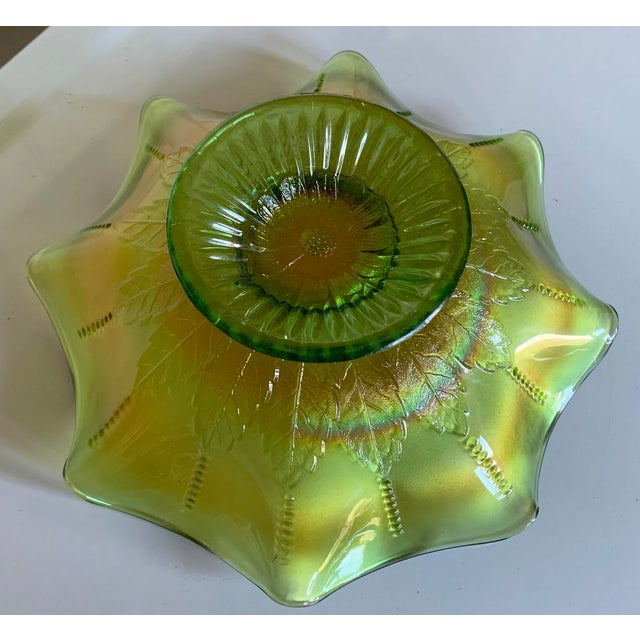 Glass Northwood Rainbow Carnival Glass Bowl, Underlined N Logo For Sale - Image 7 of 8