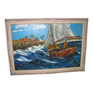 1960s Vintage Bill Dickey Seascape Marine Oil Painting For Sale