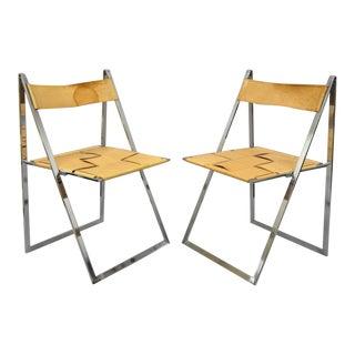 Pair of Fontoni & Geraci Elios Folding Chairs Italian Modern Chrome and Leather B For Sale