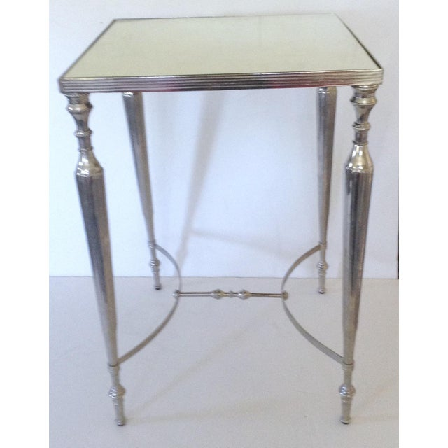 Mirror Topped Silver Side Table - Image 2 of 4