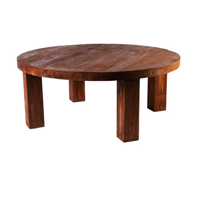 Rustic Round Modern Teak Coffee Table | Chairish