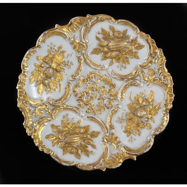 Art Nouveau Meissen Germany Porcelain Gold Grape Leaf & Fruit Pedestal Bowl Compote, Circa 1900 For Sale - Image 3 of 5