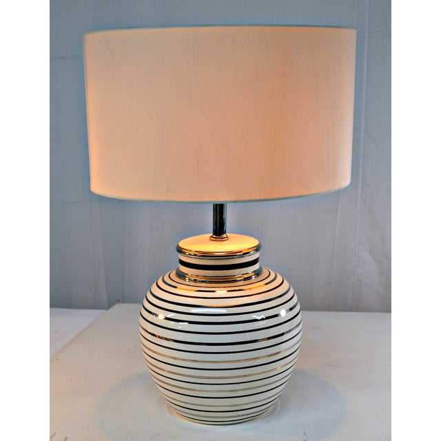 Mid Century Bowl Table Lamp & Drum Shade - Image 5 of 10