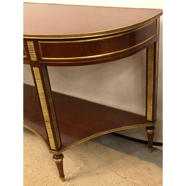 Gold Demilune Mahogany Bronze Mounted Russian Neoclassical Consoles - a Pair For Sale - Image 8 of 10