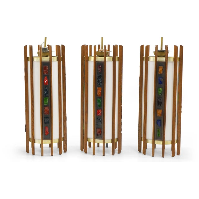 Danish Modern 1960s Danish Teak Ceiling Lights / Chandeliers, Colorful Details. 10 available! For Sale - Image 3 of 10