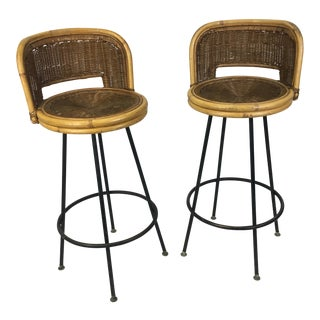 Mid-Century Rattan Wicker Bar Stools - A Pair For Sale