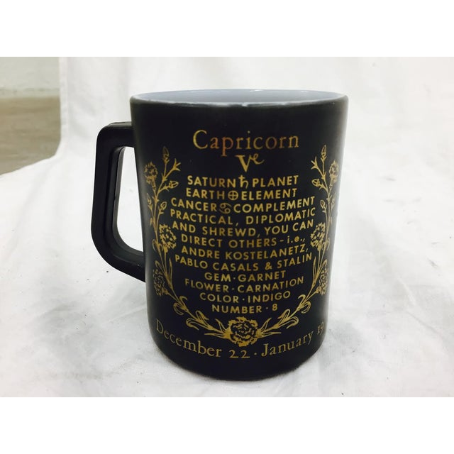 Vintage Black & Gold Zodiac Coffee Cup Mug For Sale - Image 7 of 11