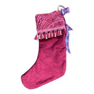 Handmade Cut Velvet Christmas Stocking For Sale