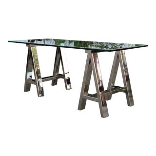 Modern Chrome & Glass Desk Table