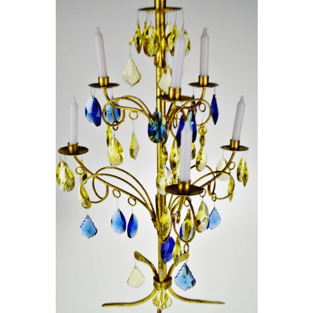 Vintage Italian Tole Gold Gilt Candelabra With Multi - Colored Cut Glass Prisms For Sale - Image 4 of 13