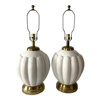 1960s Vintage Fredrick Cooper Ceramic Lamps - A Pair For Sale